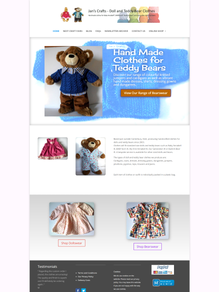 Jans Crafts Hand Made Teddy Bear and Dolls clothes in Barham Kent